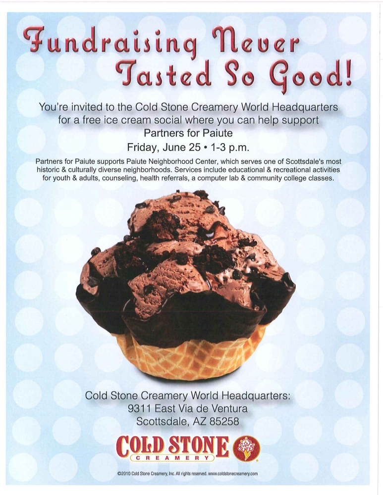 Partners for Paiute with Cold Stone Creamery